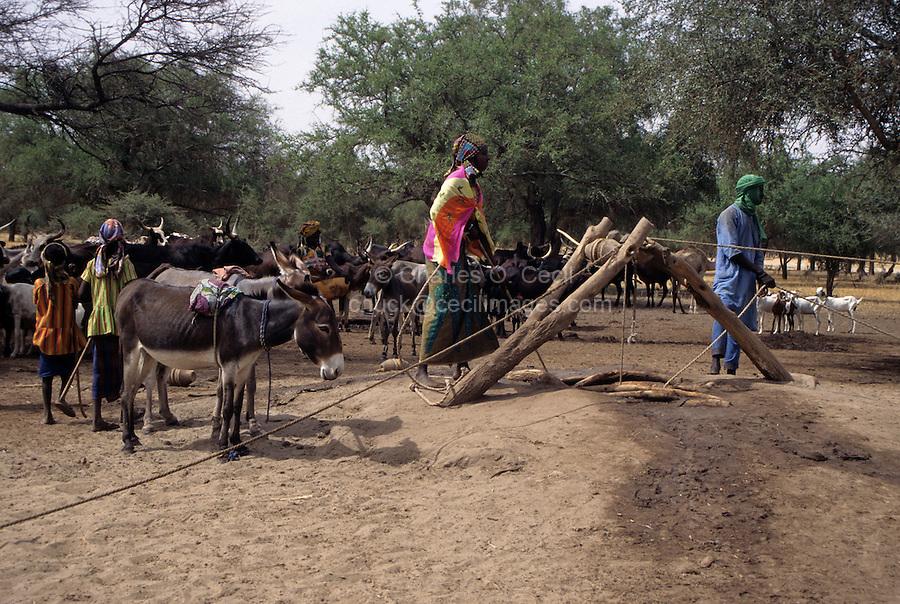 Akadaney, Niger. A Fulani Well in Semi-Arid Sahel Country, Central Niger.