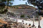 Tuerkei, Provinz Izmir, bei Selcuk: Ruinen von Ephesos, das Amphitheater | Turkey, Province Izmir, near Selcuk: ruins of Ephesus, The Theatre