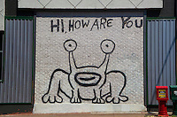 """Daniel Johnston created a notable Austin landmark in 1993, when he painted a mural of the """"Hi, How Are You?"""" frog (also known as """"Jeremiah the Innocent"""") on the side of Sound Exchange located on the corner of 21st and Guadalupe (The Drag). Locals have successfully endeavored to preserve the image when the building subsequently changed ownership to a Baja Fresh restaurant and more recently to a restaurant called Crave. In Spring 2008, a Jeremiah the Innocent collectible figurine was released in limited runs of four different colors."""