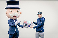 Monopoly Koers/Course ambassador Remco Evenepoel (BEL/Deceuninck-QuickStep) receiving the first cycling edition production model of the famous board game out of the hands of Rich Uncle Pennybags<br /> <br /> november 2020<br /> ©kramon
