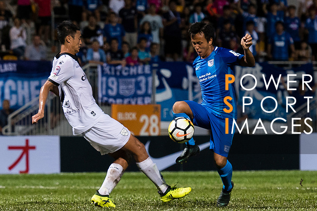SC Kitchee Forward Kwan Yee Lo (R) dribbles Wai Ho Chan of Dreams FC (L) during the week two Premier League match between Kitchee and Dreams FC at on September 10, 2017 in Hong Kong, China. Photo by Marcio Rodrigo Machado / Power Sport Images