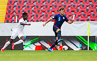 GUADALAJARA, MEXICO - MARCH 28: Tanner Tessmann #11 of the United States turns towards the corner during a game between Honduras and USMNT U-23 at Estadio Jalisco on March 28, 2021 in Guadalajara, Mexico.
