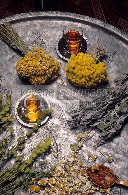 Europe/Turquie : Plateau de thé, boisson nationale et fleurs séchées