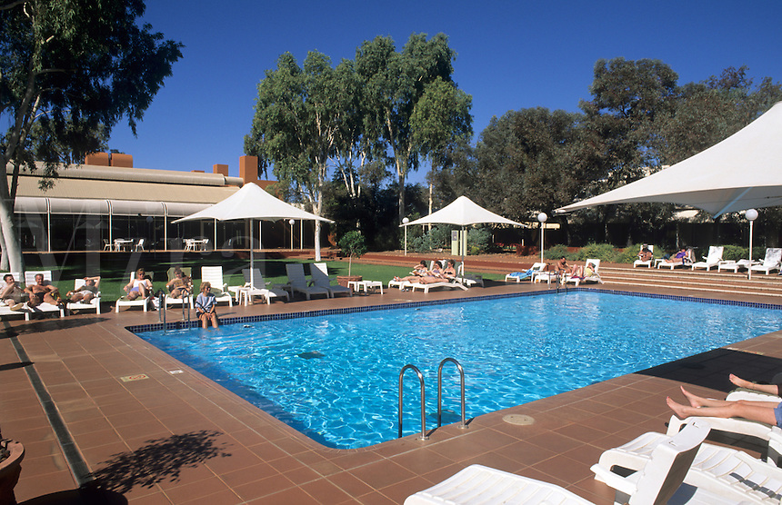 Resort near Alice Springs, Australia. Desert gardens Resort with pool.