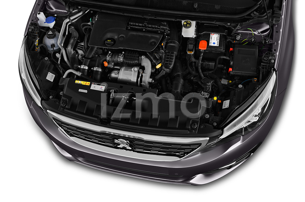 Car stock 2018 Peugeot 308 SW Allure 5 Door Wagon engine high angle detail view