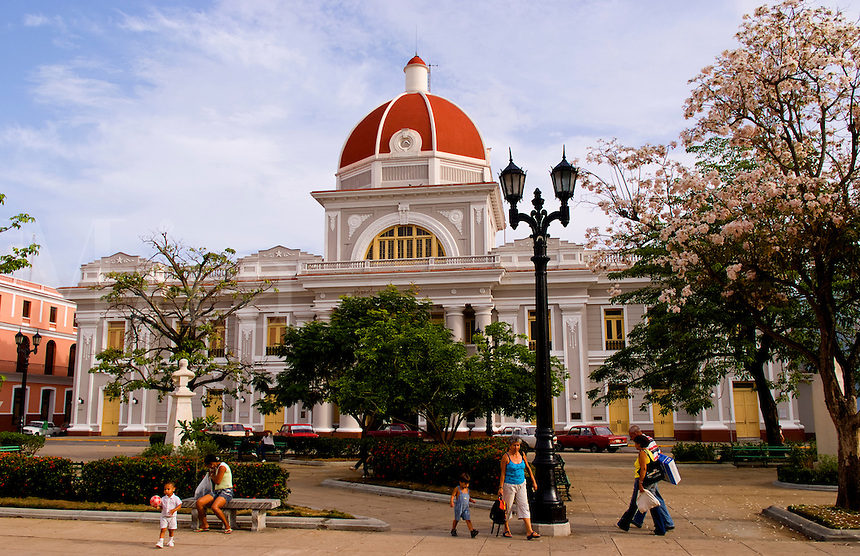 Parliament Building called Provincial Assembly of the Popular Power in the town square of Cienfurgos Cuba