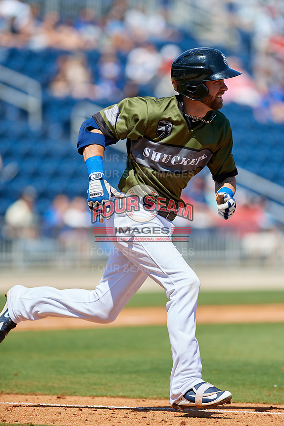 Biloxi Shuckers second baseman Nick Franklin (4) runs to first base during a game against the Jacksonville Jumbo Shrimp on May 6, 2018 at MGM Park in Biloxi, Mississippi.  Biloxi defeated Jacksonville 6-5.  (Mike Janes/Four Seam Images)