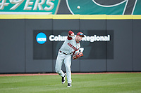 Arkansas Razorbacks left fielder Heston Kjerstad (18) throws the ball back to the infield during the game against the Charlotte 49ers at Hayes Stadium on March 21, 2018 in Charlotte, North Carolina.  The 49ers defeated the Razorbacks 6-3.  (Brian Westerholt/Four Seam Images)