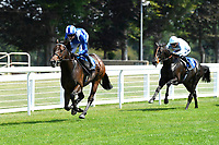 Winner of The AJN Steelstock Kentford British EBF Novice Stakes Minzaal ridden by Jim Crowley and trained by Owen Burrows during Horse Racing at Salisbury Racecourse on 9th August 2020