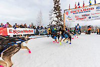 Jason Campeau team leaves the start line during the restart of the 2019 Iditarod race in Willow, Alaska on Sunday March 3, 2019.<br /> <br /> Photo by Jeff Schultz/  (C) 2019  ALL RIGHTS RESERVED
