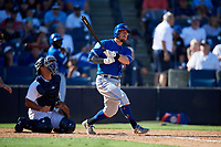 Toronto Blue Jays second baseman Eric Sogard (5) follows through on a swing in front of catcher Jorge Saez (80) during a Grapefruit League Spring Training game against the New York Yankees on February 25, 2019 at George M. Steinbrenner Field in Tampa, Florida.  Yankees defeated the Blue Jays 3-0.  (Mike Janes/Four Seam Images)