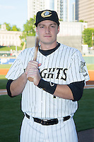 Jason Coats (17) of the Charlotte Knights poses for a photo prior to the game against the Scranton/Wilkes-Barre RailRiders at BB&T BallPark on May 1, 2015 in Charlotte, North Carolina.  The RailRiders defeated the Knights 5-4.   (Brian Westerholt/Four Seam Images)