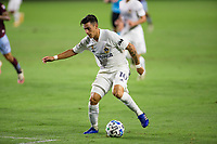 CARSON, CA - SEPTEMBER 19: Cristian Pavon #10 of the Los Angeles Galaxy moves to the ball during a game between Colorado Rapids and Los Angeles Galaxy at Dignity Heath Sports Park on September 19, 2020 in Carson, California.