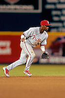 3 September 2005: Jimmy Rollins, shortstop with the Philadelphia Phillies, during a game against the Washington Nationals. The Nationals defeated the Phillies 5-4 at RFK Stadium in Washington, DC. <br />