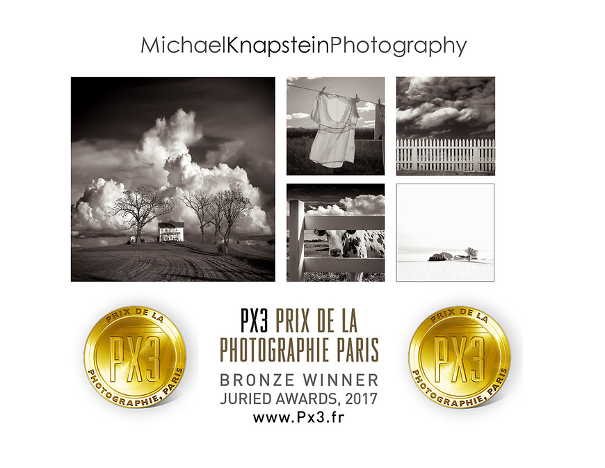 """Six images by Michael Knapstein won awards in the Prix de la Photographie Paris for 2017. A series of five photographs from the """"Midwest Memoir"""" series won Third Place in the Landscape category. """"Wawanissee Point"""" won Honorable Mention in the same category."""