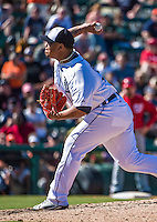 14 March 2014: Detroit Tigers pitcher Bruce Rondon on the mound during a Spring Training Game against the Washington Nationals at Joker Marchant Stadium in Lakeland, Florida. The Tigers defeated the Nationals 12-6 in Grapefruit League play. Mandatory Credit: Ed Wolfstein Photo *** RAW (NEF) Image File Available ***
