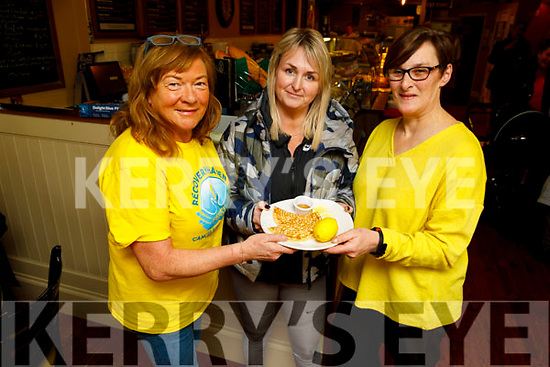 Kathleen Collins, Denise Relihan and Fiona Kirby ready to enjoy their pancakes in the Brogue Inn at the Recovery Haven's Pancake fundraiser on Tuesday.