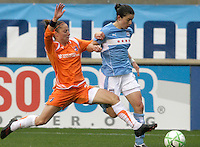 Sky Blue FC defender Julianne Sitch (38) lunges at Chicago Red Stars midfielder Karen Carney (14).  The Chicago Red Stars tied Sky Blue FC 0-0 at Toyota Park in Bridgeview, IL on April 19, 2009.