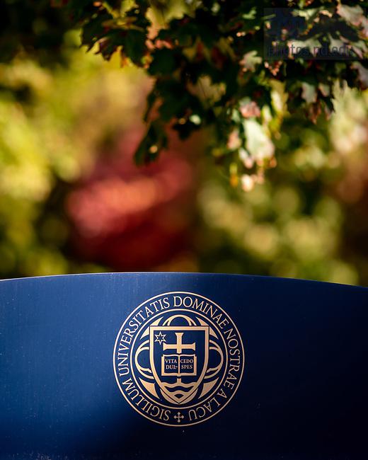 October 7, 2020; University seal on a sign (Photo by Matt Cashore/University of Notre Dame)