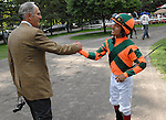 16 August 2008: Owner Brereton C. Jones and jockey Gabriel Saez shakes hands before Proud Spells win the Alabama Stakes at Saratoga Race Course in Saratoga Springs, New York.