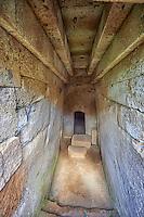 Domos (entrance corridor) to an Etruscan tumulus tomb cut into Tuff volcanic , Necropoli della Banditaccia, Cerveteri, Italy. A UNESCO World Heritage Site
