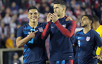 Cary, N.C. - Tuesday March 27, 2018: Rubio Rubin, Eric Lichaj during an International friendly game between the men's national teams of the United States (USA) and Paraguay (PAR) at Sahlen's Stadium at WakeMed Soccer Park.