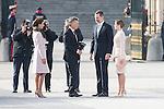 Juliana Awada, president of Argentinian Republic Mauricio Macri, King Felipe VI of Spain and Queen Letizia during state visit of the president of Argentinian Republic, Sr. Mauricio Macri and Sra Juliana Awada at Real Palace in Madrid, Spain. February 19, 2017. (ALTERPHOTOS/BorjaB.Hojas)