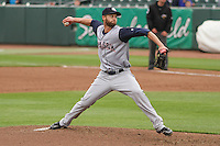 Colorado Springs Sky Sox pitcher Chris Leroux (27) delivers a pitch during a Pacific Coast League game against the Iowa Cubs on May 10th, 2015 at Principal Park in Des Moines, Iowa.  Iowa defeated Colorado Springs 14-2.  (Brad Krause/Four Seam Images)