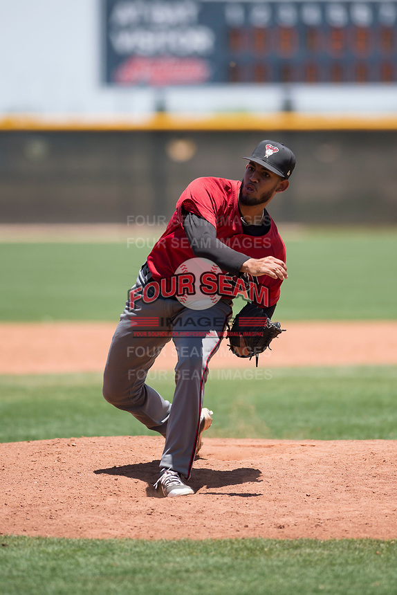 Arizona Diamondbacks relief pitcher Melvin Ovalles (12) follows through on his delivery during an Extended Spring Training game against the Cleveland Indians at the Cleveland Indians Training Complex on May 27, 2018 in Goodyear, Arizona. (Zachary Lucy/Four Seam Images)