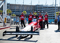 Nov 2, 2019; Las Vegas, NV, USA; Crew members for NHRA top fuel driver Doug Kalitta during qualifying for the Dodge Nationals at The Strip at Las Vegas Motor Speedway. Mandatory Credit: Mark J. Rebilas-USA TODAY Sports