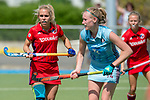 GER - Mannheim, Germany, May 05: During the women field hockey 1. Bundesliga match between Mannheimer HC (red) and Uhlenhorster HC Hamburg (light blue) on May 5, 2018 at Am Neckarkanal in Mannheim, Germany. Final score 1-3. (Photo by Dirk Markgraf / www.265-images.com) *** Local caption *** Lydia Haase #12 of Mannheimer HC Roda Mueller-Wieland #14 of Uhlenhorster HC Hamburg