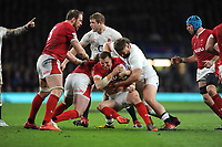 Hadleigh Parkes of Wales is wrapped up by Luke Cowan-Dickie of England during the Guinness Six Nations match between England and Wales at Twickenham Stadium on Saturday 7th March 2020 (Photo by Rob Munro/Stewart Communications)