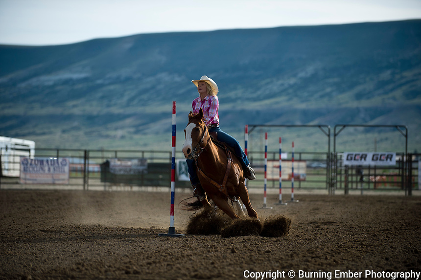Jayden Igo in the Pole Bending Event Thursday 2nd round event at the Wyoming State High School Finals Rodeo in Rock Springs Wyoming.  Photo by Josh Homer/Burning Ember Photography.  Photo credit must be given on all uses.