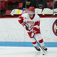 BOSTON, MA - JANUARY 11: Alex Allan #2 of Boston University looks to pass during a game between Providence College and Boston University at Walter Brown Arena on January 11, 2020 in Boston, Massachusetts.