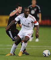 AC Milan midfielder Clarence Seedorf (10) . DC United defeated AC. Milan 3-2 at RFK Stadium, Wednesday May 26, 2010.