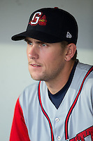 Jordan Lennerton (32) of the Gwinnett Braves prior to the game against the Charlotte Knights at BB&T BallPark on August 24, 2015 in Charlotte, North Carolina.  The Knights defeated the Braves 3-2.  (Brian Westerholt/Four Seam Images)