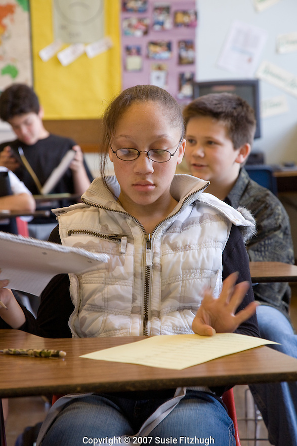 [Writers in the Schools] In Laura Gamache's writing class at Hamilton Middle School.