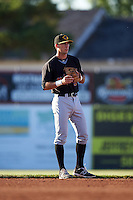 West Virginia Black Bears shortstop Kevin Mahala (5) during a game against the Batavia Muckdogs on June 29, 2016 at Dwyer Stadium in Batavia, New York.  West Virginia defeated Batavia 9-4.  (Mike Janes/Four Seam Images)