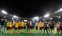 Calcio, Europa League: Lazio vs Sparta Praga. Roma, stadio Olimpico, 17 marzo 2016.<br /> Sparta Praha's players celebrate at the end of the round of 16 second leg soccer match between Lazio and Sparta Praha, at Rome's Olympic Stadium, 17 March 2016. Sparta Praha won 3-0 to join the quarter finals.<br /> UPDATE IMAGES PRESS/Isabella Bonotto