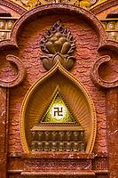 Nanjing, Jiangsu, China.  Swastika and Lotus in Decorative Niche in the Usnisa Hall, Usnisa Palace, Niushou Mountain.