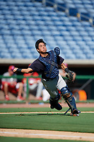 New York Yankees catcher Anthony Seigler (11) throws to first base during a Florida Instructional League game against the Philadelphia Phillies on October 12, 2018 at Spectrum Field in Clearwater, Florida.  (Mike Janes/Four Seam Images)