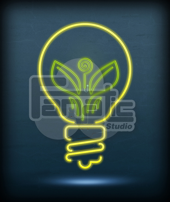Illustrative image of leaf glowing in bulb representing go green concept