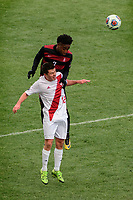 Chester, PA - Sunday December 10, 2017: Austin Panchot, Bryce Marion. Stanford University defeated Indiana University 1-0 in double overtime during the NCAA 2017 Men's College Cup championship match at Talen Energy Stadium.