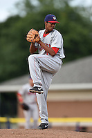 Auburn Doubledays pitcher Luis Reyes (36) delivers a pitch during a game against the Batavia Muckdogs on August 31, 2014 at Dwyer Stadium in Batavia, New York.  Batavia defeated Auburn 7-6.  (Mike Janes/Four Seam Images)