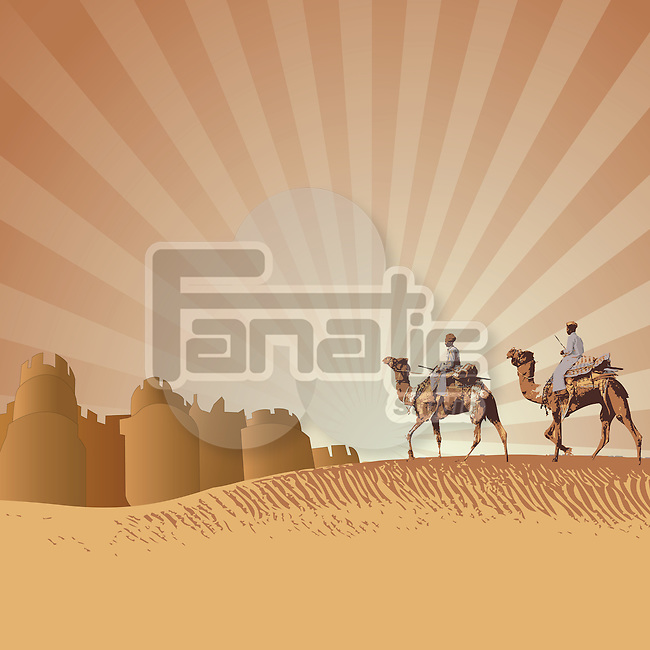 Two men riding camels in a desert, Rajasthan, India