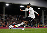 21st September 2021; Craven Cottage, Fulham, London, England; EFL Cup Football Fulham versus Leeds; Michael Hector of Fulham taking a penalty during the penalty shootout