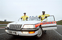 Traffic police officers with their police rapid response traffic vehicle on the motorway...© SHOUT. THIS PICTURE MUST ONLY BE USED TO ILLUSTRATE THE EMERGENCY SERVICES IN A POSITIVE MANNER. CONTACT JOHN CALLAN. Exact date unknown.john@shoutpictures.com.www.shoutpictures.com..