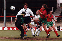Kerry Davis of England scores a goal during England Women vs Portugal Women, European Championship Qualifying Football at Griffin Park, Brentford FC on 19th May 1996