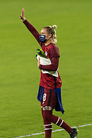 ORLANDO, FL - JANUARY 22: Ashlyn Harris #18 waves to the crowd during a game between Colombia and USWNT at Exploria stadium on January 22, 2021 in Orlando, Florida.