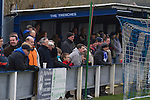 Glossop North End 0 Barnoldswick Town 1, 19/02/2011. Surrey Street, North West Counties League Premier Division. Glossop North End supporters standing in an enclosure known as The Trenches at the club's Surrey Street ground watching as their club play Barnoldswick Town in the Vodkat North West Counties League premier division. The visitors won the match by one goal to nil watched by a crowd of 203 spectators. Glossop North End celebrated their 125th anniversary in 2011 and were once members of the Football League in England, spending one season in the top division in 1899-00. Photo by Colin McPherson.